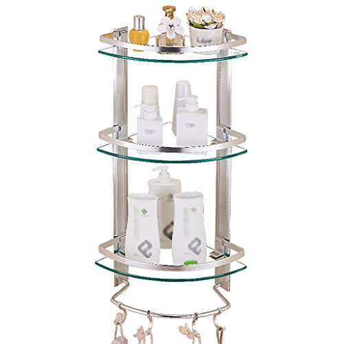 bathroom shelf Bathroom shelf Tempered glass tripod Three-tier bathroom towel storage rack Bathroom corner wall hole Bathroom towel storage (Spacing Aluminum Fence)