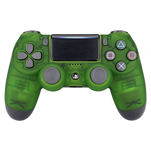 eXtremeRate Foggy Clear Green Faceplate Cover, Soft Touch Front Housing Shell Case, Comfortable Replacement Kit for PS4 Slim PS4 Pro JDM-040 JDM-050 JDM-055 - Replacement Green Transparent