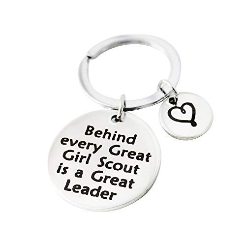 Meiligo Girl Scout Leader Gift Behind Every Great Girl Scout is a Great Leader Keychain Scout Leader Gift Troop Leader Gift (Scout Leader Keychain)