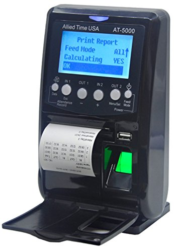 - AT5000 Fingerprint & Badge Employee Time Clock with Printer, Battery, USB Drive and 5-Badges included