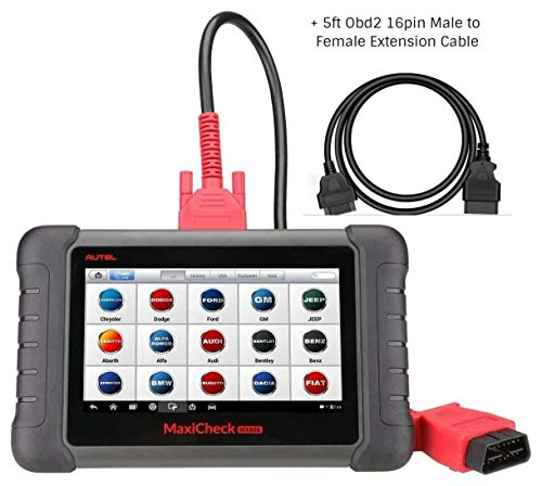 Autel MaxiCheck Maxicom OBD2 Diagnostic Scanner MX808(Advanced MD808 Pro Same MK808) With 5ft Extension Cable Full Systems And Service Functions Oil Reset EPB BMS SAS DPF TPMS Relearn IMMO ()