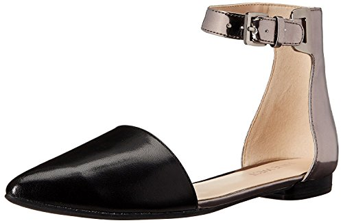 Nine West WomenS O Silly You Leather Flat Sandal, Black/Pewter, 37 B(M) EU/5 B(M) UK