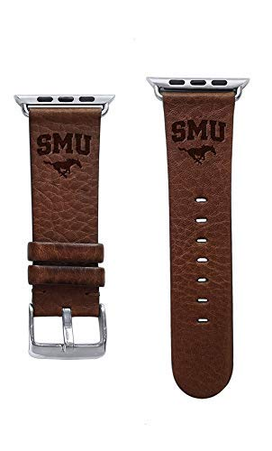 Mustang Grain Leather - Affinity Bands Southern Methodist University Mustangs Top Grain Oil Tanned Leather Band Compatible with Apple Watch - Available in Three Leather Colors - Band ONLY