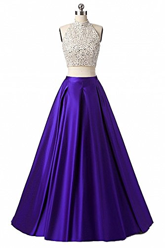 Tutu.Vivi Women's Halter Two Piece Prom Dresses Long
