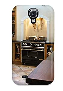 New Premium CmY-354KSBHrvHl Case Cover For Galaxy S4/ Kitchen With Custom Dark Wood Cabinets And Marble Countertops Protective Case Cover