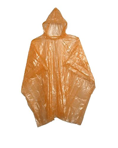 Sara Glove Emergency Orange Rain Ponchos - Lightweight & Disposable 10 Pack... -