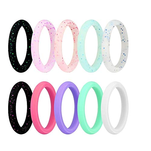 JINGRAYS 10-Pack Silicone Wedding Ring for Women, Silicone Rings Wedding Bands Thin and Stackable Durable Comfortable Antibacterial Rubber Rings Band,Singles 2.7mm Width,Size 5-9