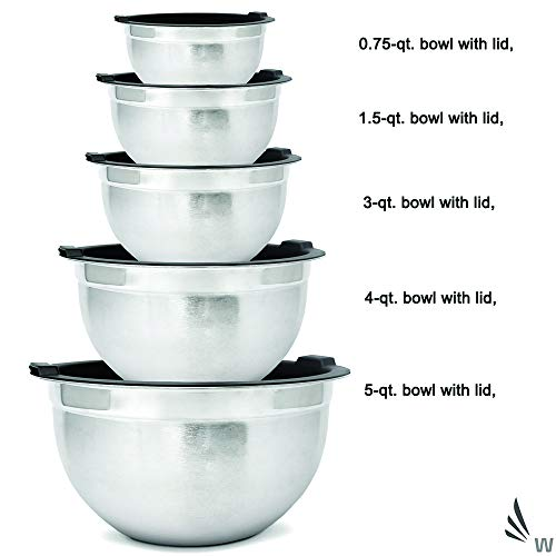 Meal Prep Stainless Steel Mixing Bowls Set with Airtight Lids (10-Piece Set) Home, Refrigerator, and Kitchen Food Storage Organizers | Ecofriendly, Reusable, Heavy Duty By WHYSKO