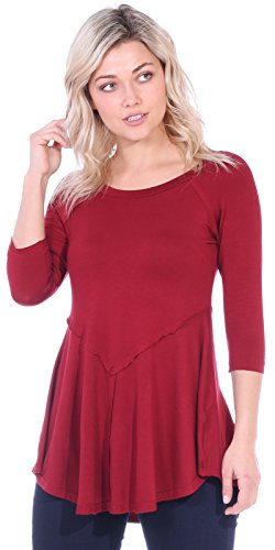 Popana Women's Casual Short 3/4 Sleeve Tunic Tops for Leggings Loose Fit Shirt X-Large Burgundy