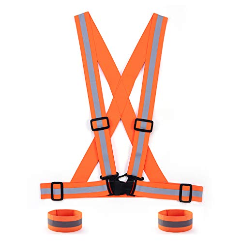 SAWNZC Reflective Vest Running Gear 1Pack, Adjustable Safety Vest Outdoor Reflective Belt High Visibility with 2 Reflective Wristbands Straps for Night Cycling Motorcycle Dog Walking-Orange
