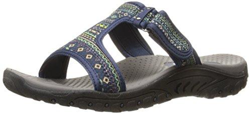 Skechers Print Sandals - Skechers Women's Reggae Ethnic Vibes Slide Sandal,Navy Multi Ethnic Print,9 M US