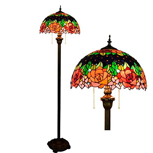 YAYONG Floor Lamp Retro Rose Creative Tiffany Style Color Glass Retro Living Room Dining Room Bar Lighting (Rose Glass Pendant Light)