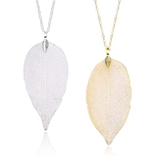 (Set of 2 Long Leaf Pendant Necklaces Real Natural Filigree Fashion Jewelry for Women)