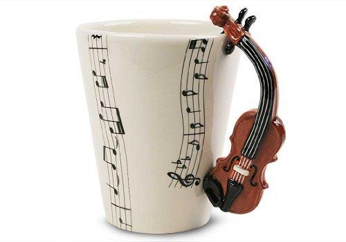 Violin 8Oz Brown Handmade Coffee Mug (10cm x 8cm) by Blue Witch