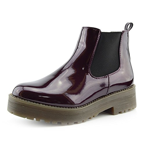 CityStyle4You - Damen Patent Pull On Chelsea Stil Händler Ankle-Boots, Chunky Sole Casual Stiefel Bordo