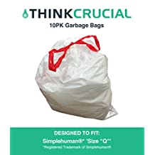 10PK Durable Garbage Bags Fit Simple Human Q, 50-65L / 13-17 Gallon