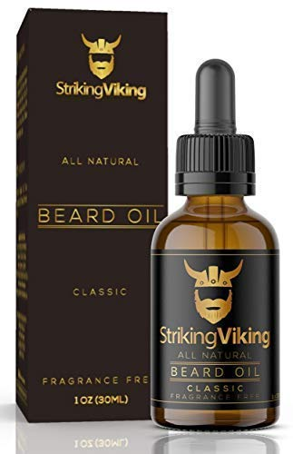 Striking Viking Beard Oil for Men with Organic Jojoba, Argan and Almond Oils - Ultimate Beard Growth and Strength Conditioner - [Unscented]