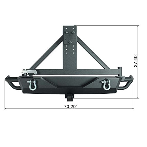 Restyling Factory Jeep Wrangler JK Black Rear Bumper with Tire Carrier and Hitch Receiver JK Jeep