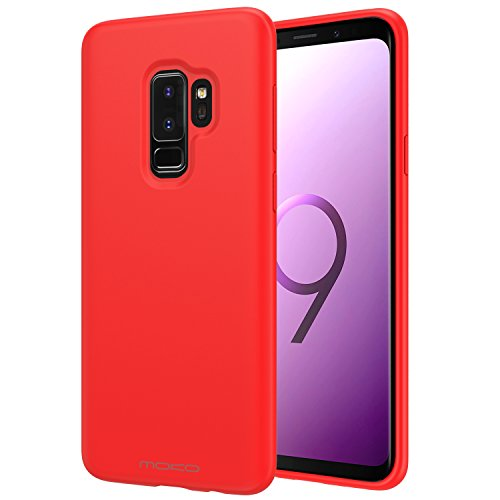 Samsung Galaxy S9 Plus Case, MoKo Liquid Silicone Gel Rubber Slim Fit Shockproof Case with Soft Microfiber Cloth Lining Cushion for Samsung Galaxy S9+ 6.2 Inch 2018 - Red