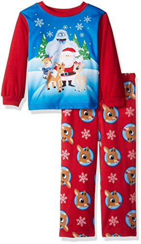 (Rudolph Boys' Toddler Red-Nosed Reindeer 2-Piece Fleece Pajama Set, ruddy, 4T )