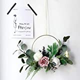 Adeeing Hoop Wreath, 15 Inch Artificial Rose Flower and Vine Wreath Garland Hanging Pendant for Wall Decor Wedding Backdrop (Purple)