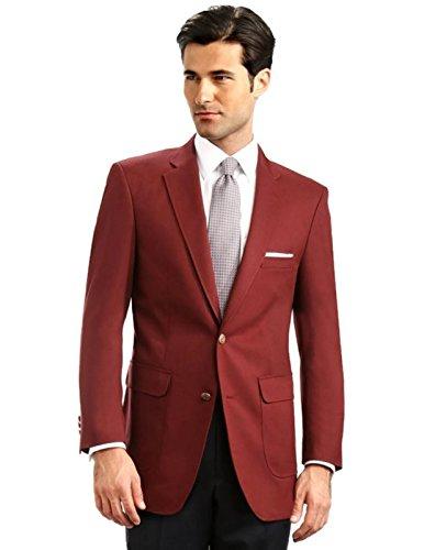 Men's Elegant Classic 2 Button Blazer Sport Jacket - Burgundy, 46 - Classic Lined Blazer Fully