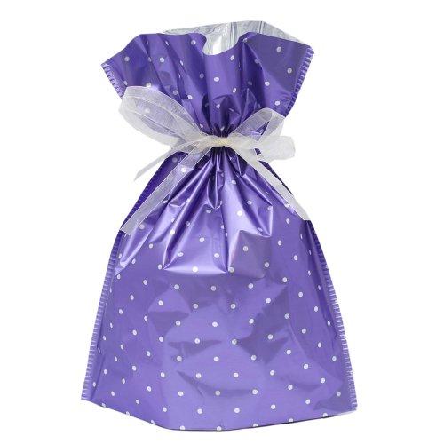 Gift Mate 21050-6 6-Piece Drawstring Gift Bags, Medium, Purple Polka Dot