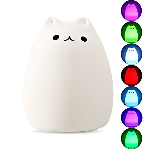 DASTLING Colorful Silicon Cute Cat LED Night Light, Tap Sensor Control, USB Rechargeable Lighting, Warm White Normally-on and 7 Colors Stroboscopic mode, Good Decor Lamp for Baby Bedroom, Children Review