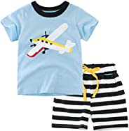 Niyage Toddler Kids Summer Cotton Outfits Boys' Short-Sleeve T-Shirt and Shorts