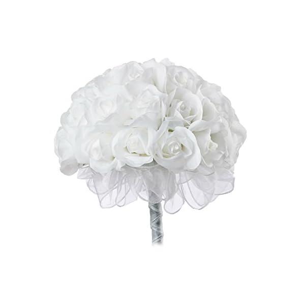 White Silk Rose Hand Tie (36 Roses) – Artificial Silk Bridal Wedding Bouquet