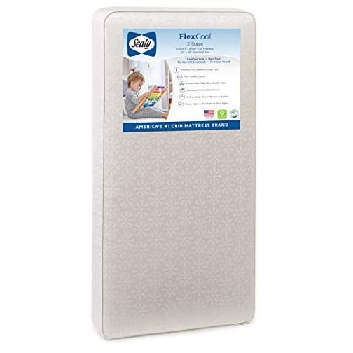 """Sealy Baby Flex Cool 2-Stage Airy Dual Firmness Waterproof Standard Toddler & Baby Crib Mattress, 51.7""""x 27.3″"""