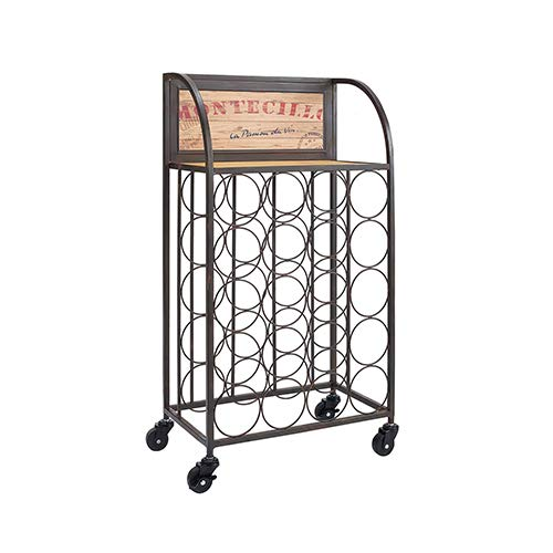(Brighton Hill Black and Brown Wine Rack with Wheels)