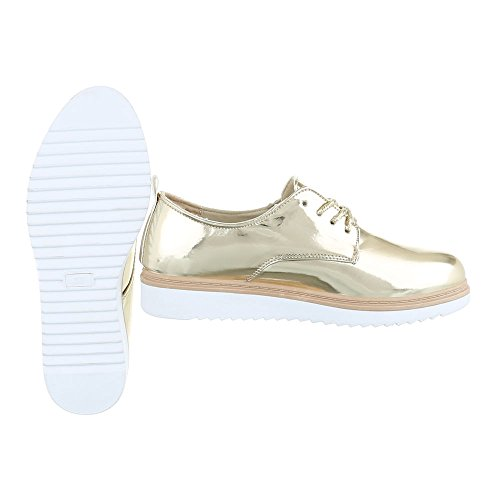 Ital-Design Schnürer Damenschuhe Oxford Schnürer Schnürsenkel Halbschuhe Gold