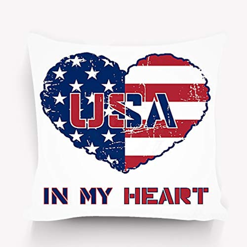 YILINGER 18 X 18 Inch Cotton Home Decorative Throw Pillow Cover Cushion Case USA Design American Flag as Heart Shaped Symbol Patriotic Typography Mans Printing Fashion Print Sportswear