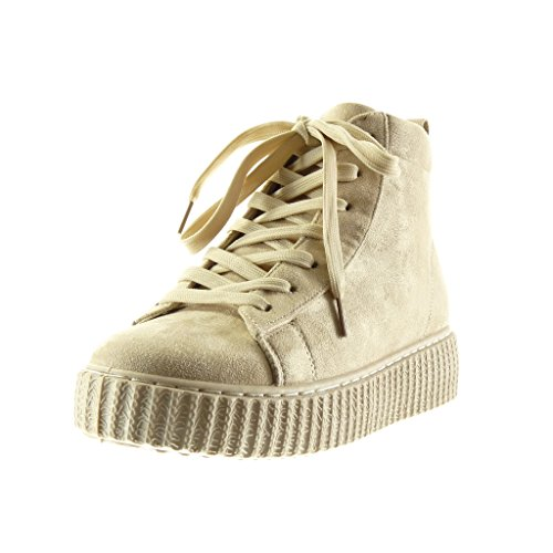 cm Women's 4 Angkorly Platform Shoes Beige Platform High Fashion Wedge Trainers 6xqzq4f