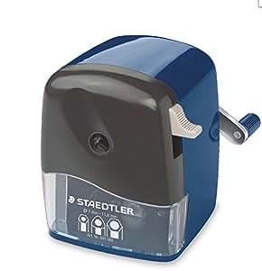 STAEDTLER Mars 501 180 Rotary sharpener for Round, Triangular, Hexagonal prisma color , pencils, Classic Manual Pencil Sharpener, Desk clamp