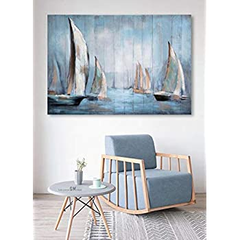 Wooden Framed Boat Canvas Prints Wall Art for Home, 3D Hand Painted Ocean Beach Landscape, Modern Blue Oil Paintings on Canvas for Living Room, Stretched and Framed Ready to Hang 40x28Inch