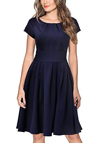 MissMay Women's Vintage Scoop Neck Short Sleeve Elegant Pleated Cocktail Swing Dress Medium