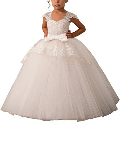 Carat Elegant Lace Appliques Cap Sleeves Tulle Flower Girl Dress 1-14 Year Old Ivory Color With Ivory Sash Size 6