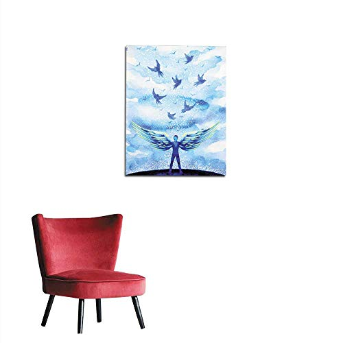 longbuyer Art Decor Decals Stickers Human Angel Wing Mind Heaven Power Watercolor Painting Illustration Hand Drawn Mural 16