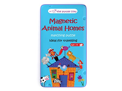The Purple Cow - Magnetic Travel to Go Animal Homes - Matching Game, Multicolor