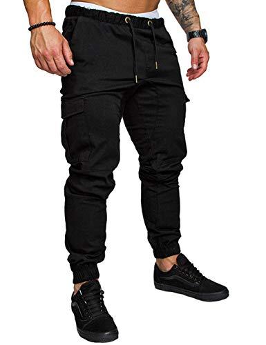 Cargo Sport - Kbook Men's Jogger Pants Cargo Trousers Sports Twill Casual Chino Sweatpants Bottoms Black XL