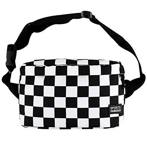 (Felice Canvas Fanny Pack Black and White Checkered Chess Board Print Rave Bag Beach Bum Bag Leisure Sports Bag )