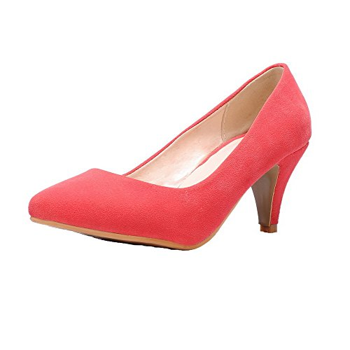 VogueZone009 Closed Pumps Kitten Frosted Women's Watermelonred Heels Toe Solid Shoes Pull On qwFrqntXE