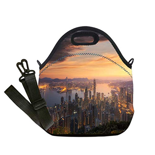 - Custom Digital Printing Insulated Lunch Bag,Neoprene Lunch Tote Bags Hong Kong skyline The view from Victoria Peak in morning custom Stylish Lunch Bag, Multi-use for Men, Women and Kids