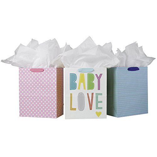 Hallmark Large Gift Bags with Tissue Paper, Baby Love (Pack of 3) -