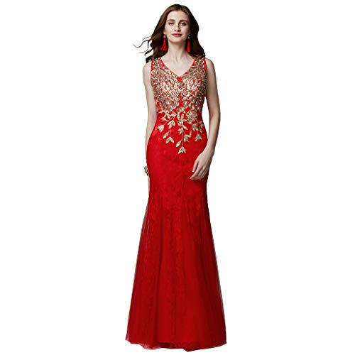 TS Women's Mermaid Trumpet V Neck Floor Length Tulle Lace Prom Formal Evening Dress with Beading