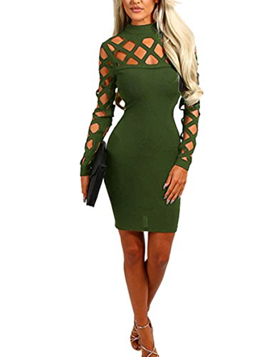 Wuxh Women's Sexy Long Sleeve Hollow Out Cocktail Clubwear Party Mini Bandage Bodycon Dress (Small, Army Green)