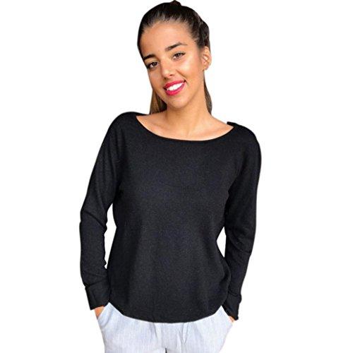 Longue Sweat S Blouse Noir Cou O T Femme Tunique Tops Blanche Femmes Pull Chemisier Shirt ~ Dentelle Wolfleague Shirts Femme Nu Dos XL Manche Chemises xqzw1RSFY