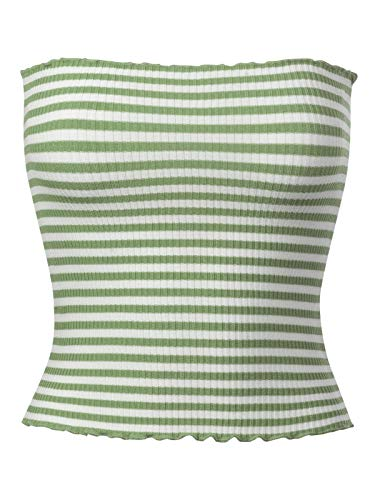 MixMatchy Women's Striped Lettuce Edge Ribbed Knit Crop Tank Top Olive M - Lettuce Edge Knit Top